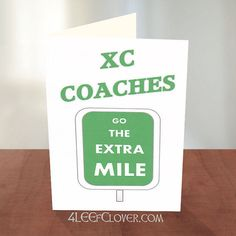 Coach Thank You Card. Ideal card to thank your Cross Country and Track Coaches for