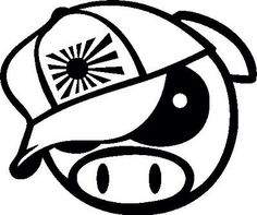 2x Angry Rally Pig with Japan Hat Decals ,JDM, Drift, Subaru, Funny,Car sticker