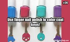 Use finger nail polish to color coat keys!