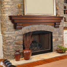 cherry finish fireplace mantel
