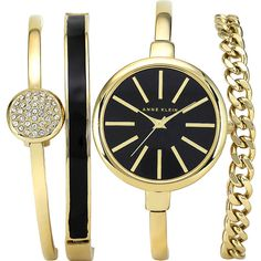 Anne Klein Watches Watch And Bracelet Set Women's ($150) ❤ liked on Polyvore featuring jewelry, watches, bracelets, accessories, fashion accessories, yellow, enamel watches, adjustable bangle bracelet, water resistant watches und enamel bangle