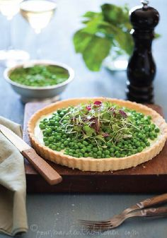 This Pea and Herbed Goat Cheese Tart is perfect for fall entertainment!