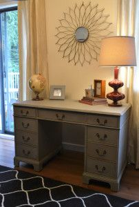 desk after being painted french linen annie sloan chalk paint