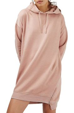 hooded sweatshirt dress by Topshop. Zips at the hemline add a modern touch to a casual, hooded sweatshirt dress.