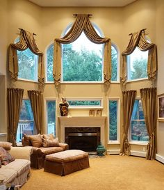 Arched Window Treatments - Klima Design Group More Arched Window Treatments - Klima Design Group Tall Window Treatments, Window Treatments Living Room, Living Room Windows, Window Coverings, Tall Windows, Arched Windows, Curtain Styles, Curtain Designs, Tuscan Decorating
