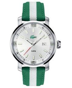 Lacoste Watch, Men's Striped Grosgrain Strap 2010340