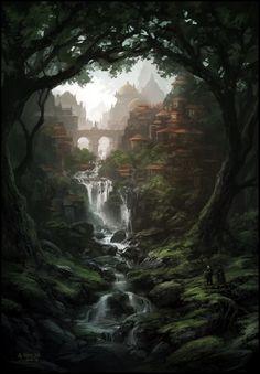 Fantasy kunst Konzeptkunst von Andreas Rocha , How To Buy House Floor Fantasy Artwork, Fantasy Art Landscapes, Fantasy Concept Art, Landscape Paintings, Fantasy Paintings, Nature Paintings, Fantasy City, Fantasy Places, Fantasy Kunst