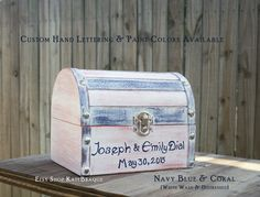 CUSTOM for EMILY Hand Painted Shabby Chic Beach Decor Wedding Trinket Card Box by KateBraque on Etsy