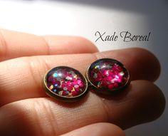 Hot pink Antique Brass Post Earrings.