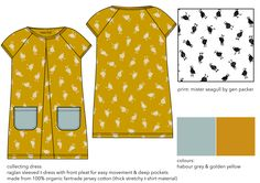 collecting dress. 100% organic fair trade cotton Fair Trade Clothing, Ethical Clothing, Kids Prints, Kids Outfits, Dresses With Sleeves, Organic, Cotton, T Shirt, How To Wear