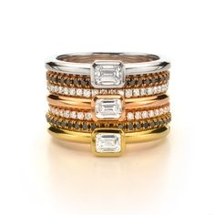 We like how this deck is stacked. Forevermark emerald cut diamonds in rose gold, yellow gold and white gold.