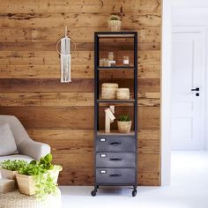 Tikamoon : Industriel Metal and Mango Column 170 Metal Bookcase, Metal Shelves, Ladder Bookcase, Open Shelving, Bookcases, Agra, Solid Wood Furniture, Space Furniture, Furniture Making