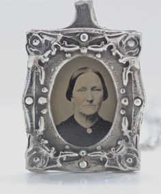 Authentic tin type photograph frame necklace one of by billyblue22, $130.00