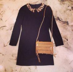 """""""McGinn"""" Laurie Leopard Collar Dress with """"Rebecca Minkoff"""" Tawny Mini Five Zip"""
