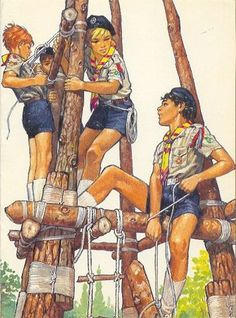 Vintage scouts pioneering    Image found on   http://www.qrendiscouts.org