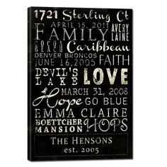 GeeZees custom family typography canvas