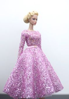 lady pink dress  for Barbie Doll Poppy Parker Silkstone by Rimdoll