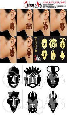 Pendiente de máscara africana / plantillas de corte colgante - vector archivos digitales a utilizar para sus proyectos de fabricación, etcetera.  LO QUE RECIBIRÁS  Usted recibirá estos diseños en 5 formatos:  SVG (archivo de vector - ilimitado tamaño sin pérdida de calidad) DXF (archivo de vector -