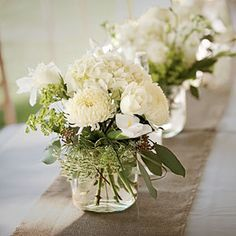 Wedding Flower Arrangements Fragrant White Centerpiece - Wedding Table Centerpieces - Southern Living - Appealing wedding table centerpieces are the key to an elegant backdrop. Wedding Table Flowers, White Wedding Flowers, Wedding Table Centerpieces, Floral Centerpieces, White Flowers, Wedding Decorations, Table Wedding, White Hydrangeas, Wedding Blue