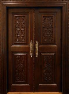 Wooden Front Door Design, Wooden Double Doors, Main Entrance Door Design, Double Door Design, Wooden Front Doors, Flush Door Design, Home Door Design, Door Design Interior, Latest Door Designs