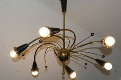 Vintage Brass Sputnik 1950s Ceiling Light Lamp Mid Century Modern Atomic MCM | eBay