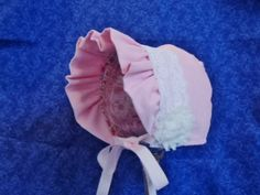 Custom for Meg Pink Baby Bonnet in Corduroy with Ruffled Brim and Lace by AdorableandCute on Etsy