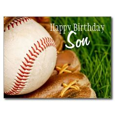 Happy Birthday Son Baseball with Mitt Post Cards