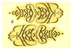 vtg impko pinstripe decal HOT ROD script retro drag race model kit gold