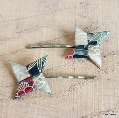 Barrettes pour cheveux en origami - modèles Shuriken - Origami shuriken jewelry