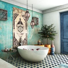 bohemian interior design, Ensure you buy fit the location you wish to add it in. bohemian interior design, Ensure you buy fit the location you wish to add it in. Whether you buy a bed, a couch or even . Bohemian Interior Design, Moroccan Design, Bathroom Interior Design, Modern Moroccan, Villa Design, House Design, Design Hotel, Interior Bohemio, Moroccan Bathroom