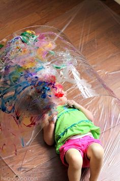 Toddler Big Art: Painting a Rainbow- a Reggio-inspired exploration at Twodaloo