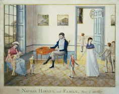 NATHAN HAWLEY and FAMILY, Novr. 3d. 1801.  William Wilkie. Watercolor on paper    16 H x 20 W