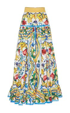 Printed Pleated Maxi Skirt by DOLCE & GABBANA Now Available on Moda Operandi