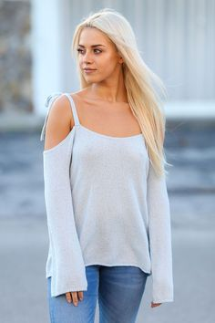 Secure and Confident Long sleeve Knit Cold Shoulder Sweater top (Sky Blue)