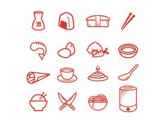 Icons created for a local restaurant's rebranding - Miraku: Japanese Steakhouse and Sushi Bar.