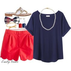 Navy top with red scalloped shorts! This is really cute but I could do without the now