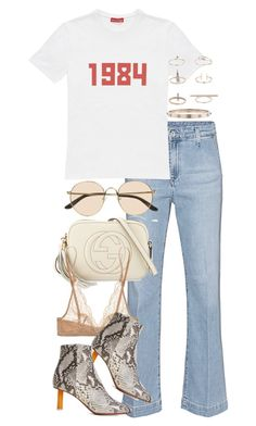 """""""Untitled #3354"""" by angieswardrobe ❤ liked on Polyvore featuring AG Adriano Goldschmied, Gosha Rubchinskiy, The Row, Gucci, Topshop, Calvin Klein, Vetements and Cartier"""
