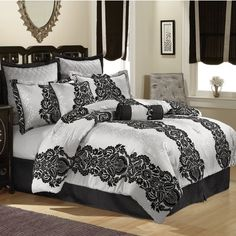 Scroll Comforter Set in Black and Silver
