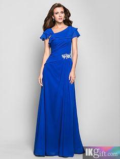 A-line Square Floor-length Chiffon Evening Dress