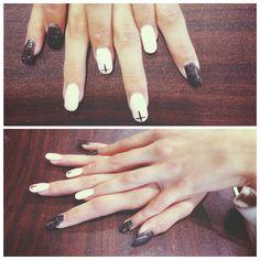 Pink and black nails  @narhabeaudet