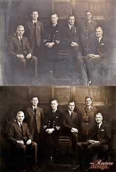 Restored old photo where the shadows have turned negative - showing before and after restoration