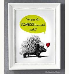 Witziges Typo Poster für Anti-Romantiker / funny artprint with hedgehog made by Abouki via DaWanda.com