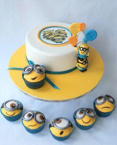 Despicable Me Cake + Cupcakes www.facebook.com/cakesbyjantine