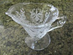 Heisey Glass Creamer Orchid Etch Vintage by ToadSuckTreasures