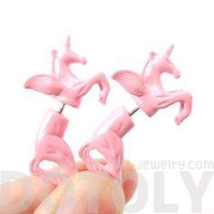 3D Unicorn Pegasus Horse Animal Fake Gauge Earrings in Pastel Pink