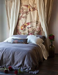 BEDROOM / WALLS:  Antique tapestry