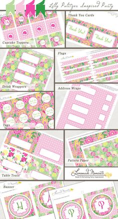 Lilly Pulitzer Inspired Printable Party Package - INSTANT DOWNLOAD on Etsy, $15.00