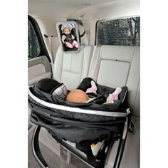 The BRITAX Back Seat Mirror provides a view of your rear-facing baby at any angle while allowing installation to adjacent vehicle head restraints. The shatter-proof, extra large mirror is convex to reflect a head-to-toe view of baby. The adjustable attachment straps allow the mirror to securely attach to most vehicle head restraints, while its soft-feel frame design has a sleek, modern look.