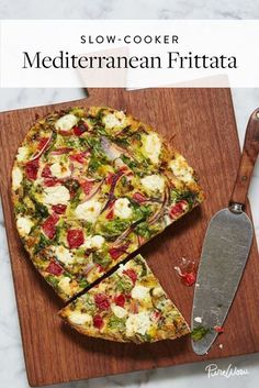 Slow-Cooker Mediterranean Frittata with red peppers, onion, arugula and goat cheese | @PureWow