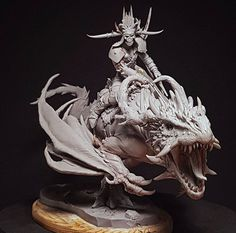 This is a big work sculpted for Terrible Kids Stuff, I love the drawings from Filip Burburan, and when I saw this dragon concept I though Fantasy Figures, Fantasy Art, Expos Paris, Clay Monsters, Digital Sculpting, Fantasy Miniatures, Sculpture Clay, Zbrush, Mythical Creatures